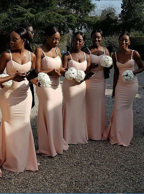 Mermaid Spaghetti Straps Sleeveless Pink Long Bridesmaids Dress