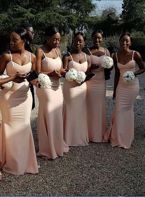 Mermaid Spaghetti Straps Sleeveless Pink Long Bridesmaids Dress