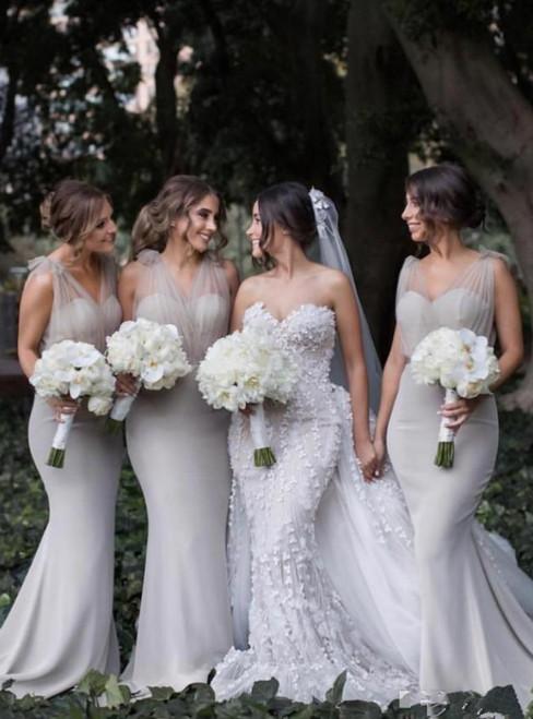 Gray Mermaid Sheer Tulle Sweep Train Bridesmaid Dresses