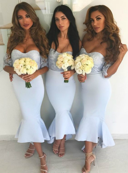 Light Sky Blue Off The-Shoulder Lace Mermaid Bridesmaid Dress