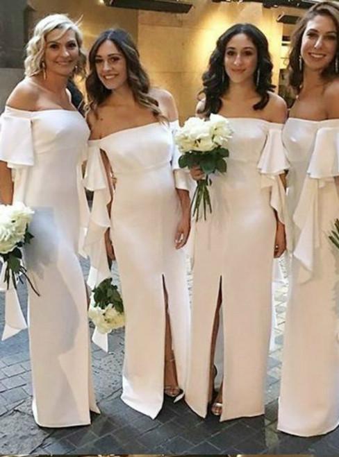 Mermaid White Short Sleeve White Bridesmaid Dresses Front Slit