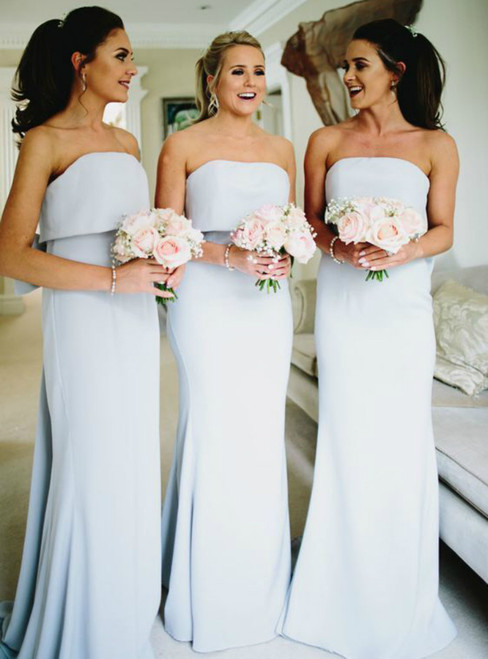 Light Sky Blue Strapless Mermaid Bridesmaid Dress Featuring Bow