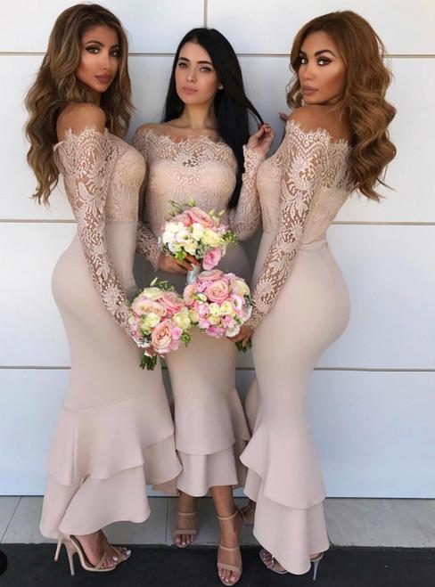 Mermaid Pink Off The Shoulder Long Sleeve Satin Lace Bridesmaid Dress