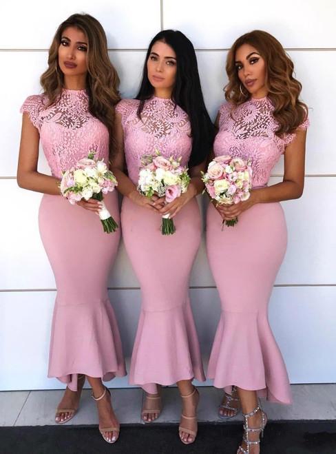 Pink Tea Length Cap Sleeve Mermaid Satin Bridesmaid Dresses