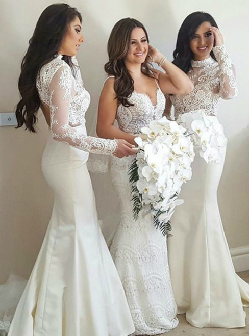 Mermaid High Neck Sweep Train Ivory Stain Bridesmaid Dress with Lace
