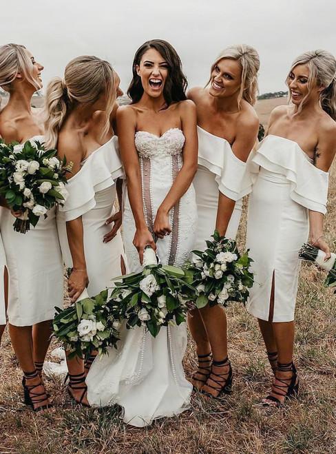 White Off the Shoulder Satin Short Bodycon Short Bridesmaid Dresses