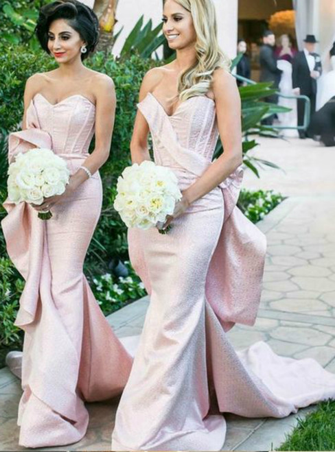 Mermaid Pink Satin Lace Up Back  Sweetheart Bridesmaid Dresses