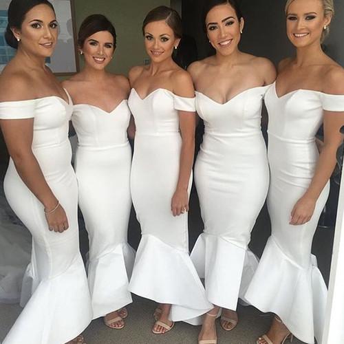 White Mermaid Off The Shoulder Satin White Long Bridesmaid Dresses