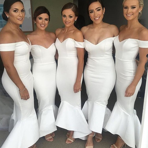 White Mermaid Off The Shoulder Satin White Long Bridesmaid Dresses