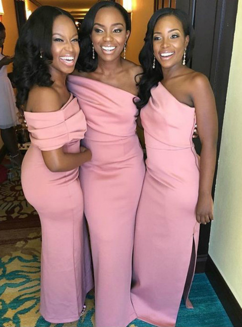 Elegant Pink Satin One Shoulder Floor Length Bridesmaid Dresses