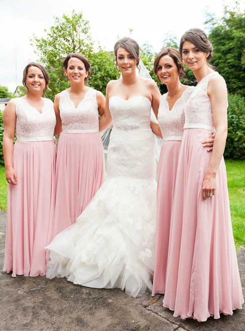Simple Pink Chiffon Lace V-neck Floor Length Bridesmaid Dresses