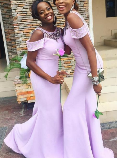 Lavender Cold Shoulder Crystal Embellished Bridesmaid Dress
