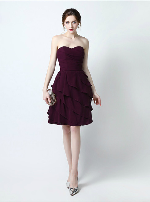 A-Line Burgundy Chiffon Sweetheart Knee Length Bridesmaid Dress