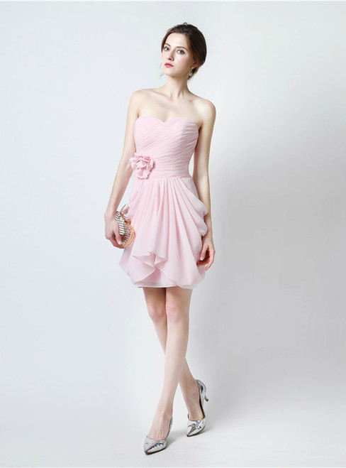 Pink Sweetheart Neck Chiffon Bridesmaid Dress With Pleats