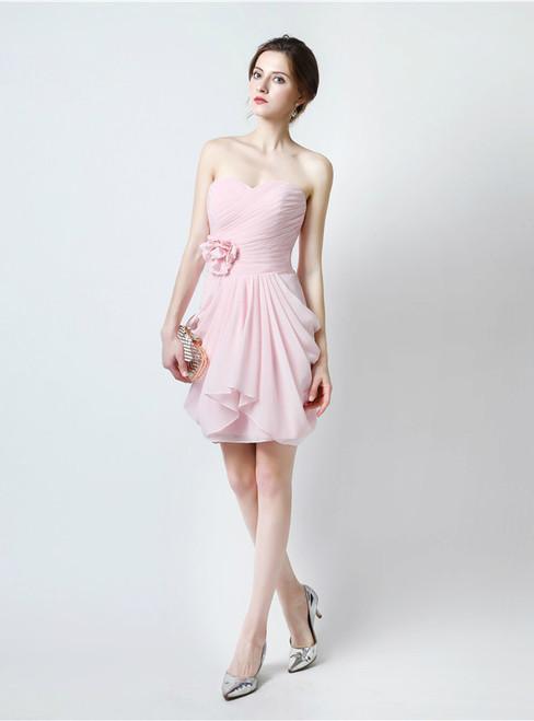 Pink Sweetheart Neck Chiffon Bridesmaid Dress With Pleats