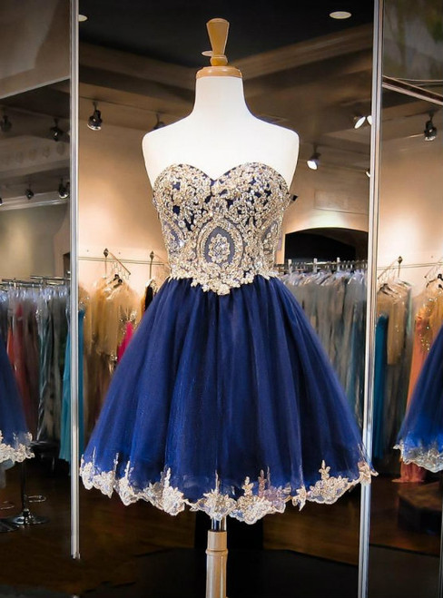 Beautiful Navy Blue Homecoming Dresses Sweetheart Gold Applique
