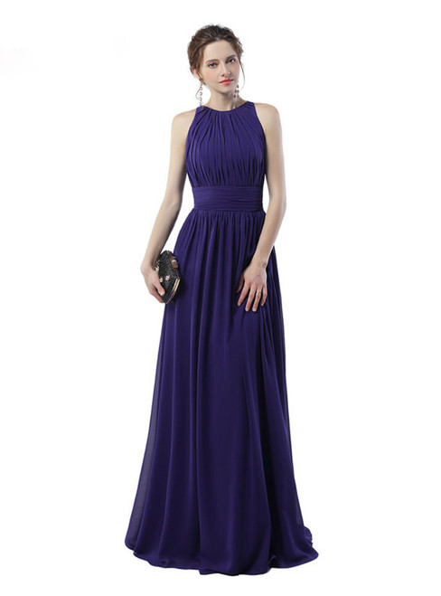 Purple Chiffon Halter Floor Length With Pleats Bridesmaid Dress