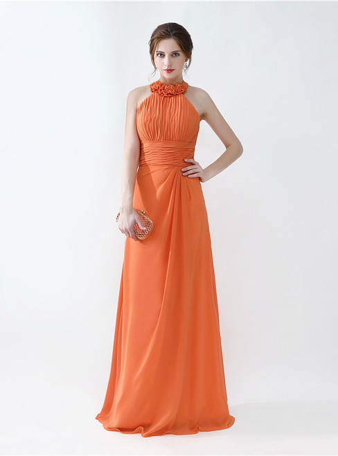 Orange Halter Chiffon Floor Length Bridesmaid Dress With Pleats