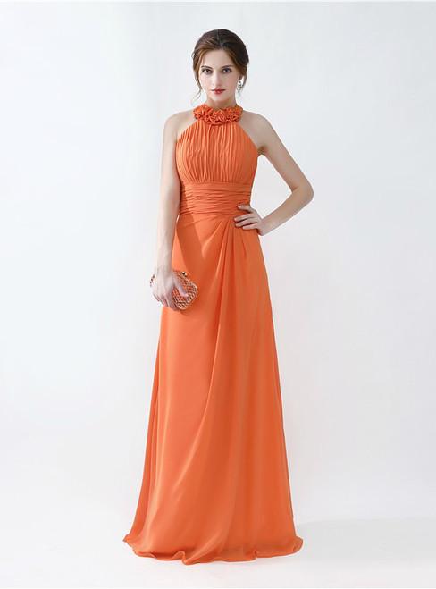 Orange Halter Chiffon Floor Length Bridesmaid Dress With Pleats