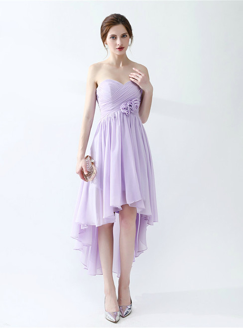 Purple Chiffon Hi Lo Sweetheart Neck High Waist Bridesmaid Dress