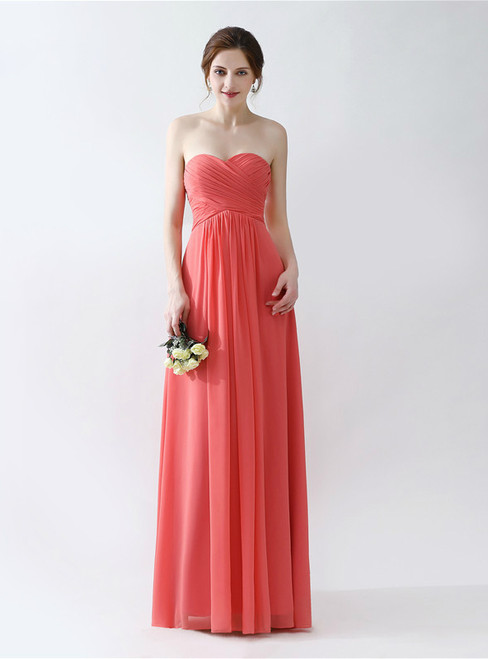 Orange Chiffon Sweetheart Neck Floor Length Bridesmaid Dress