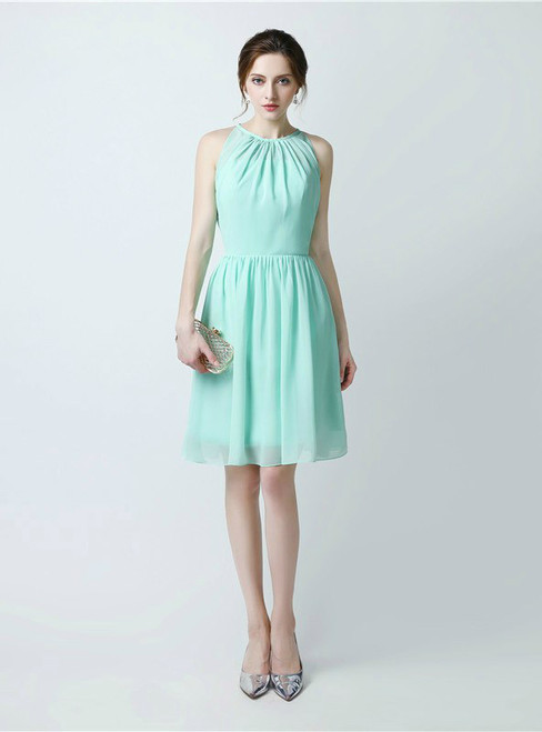 A-Line Green Chiffon Halter Knee Length Bridesmaid Dress