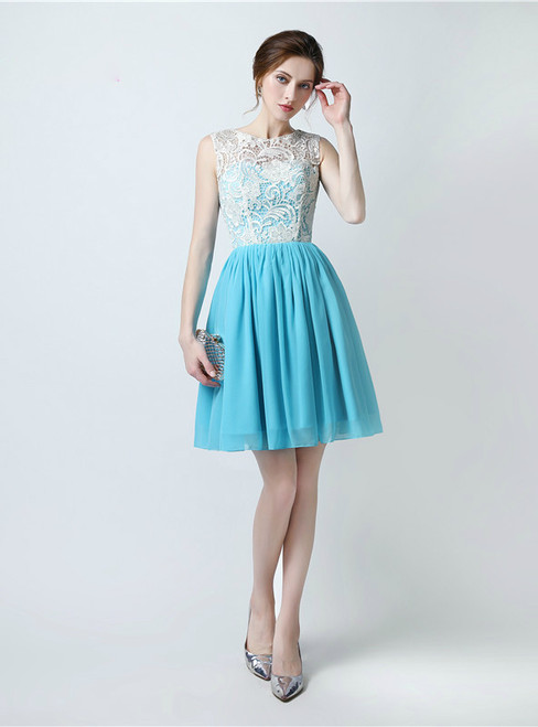 A-Line Blue Chiffon Lace Knee Length Bridesmaid Dress