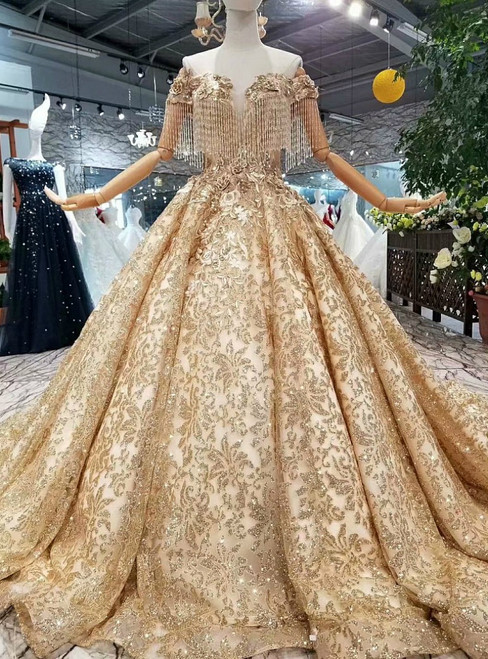 Gold Ball Gown Sequins Off The Shoulder Backless With Beading Wedding Dress