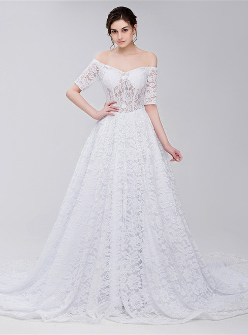 White Lace Off The Shoulder Short Sleeve Corset Wedding Dress
