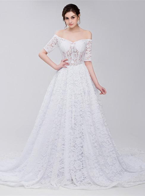 White Lace Off The Shoulder Short Sleeve Corset Wedding Dress