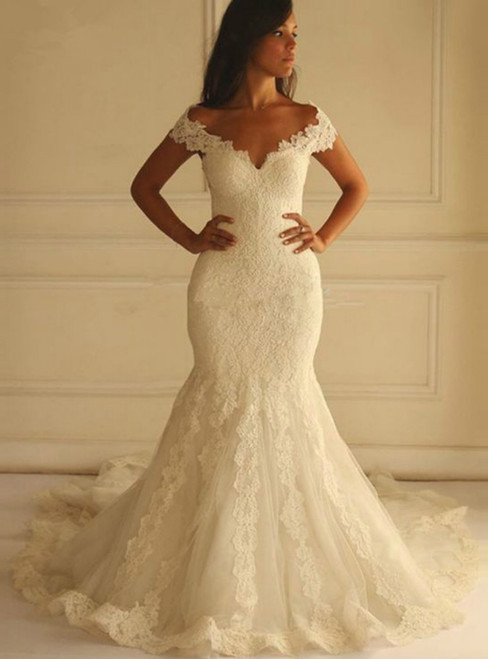 White Mermaid Lace Tulle Off The Shoulder Wedding Dress