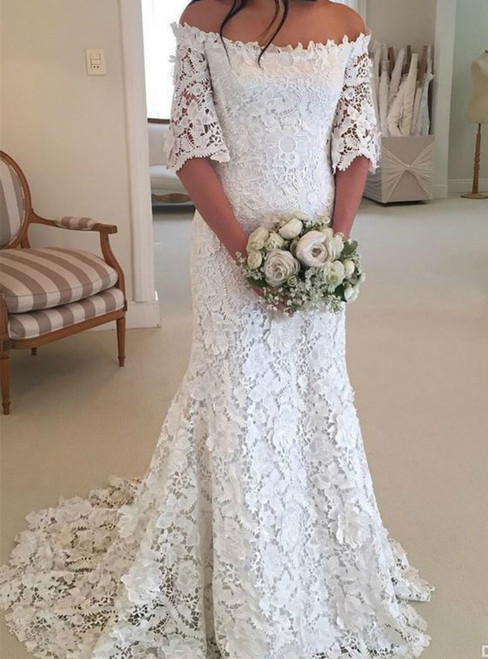 White Mermaid Off the-Shoulder Half Sleeves Lace Beach Wedding Dress