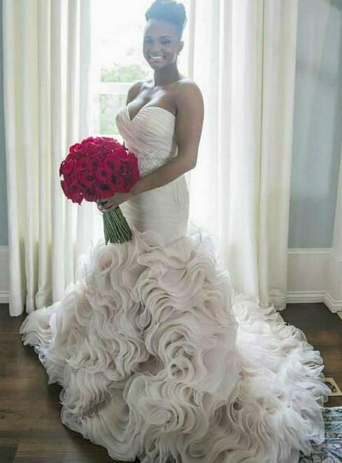 Mermaid Strapless Sweep Train Tired Skirt Wedding Dresses