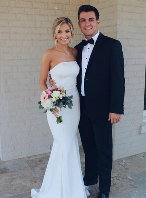 Simple Mermaid Satin Strapless Neckline Sweep Train Wedding Dresses