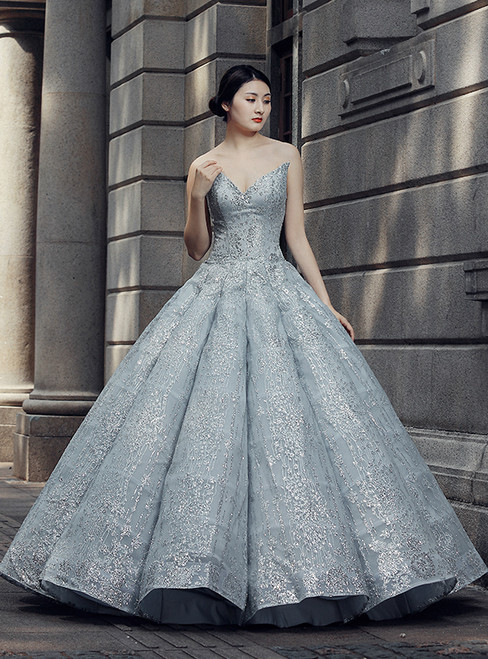 Gray Ball Gown Sweetheart Neck Sequins Floor Length Wedding Dress