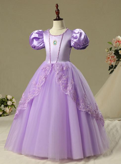 In Stock:Ship in 48 Hours Sophia Princess Purple Tulle Skirt Girl
