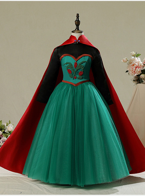 In Stock:Ship in 48 Hours Green Tulle Long Sleeve Frozen Aisha Dress