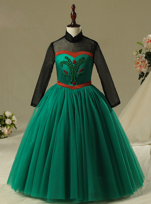 In Stock:Ship in 48 Hours Green Tulle Long Frozen Aisha Dress