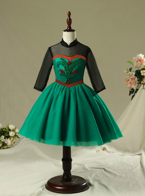 In Stock:Ship in 48 Hours Green Tulle Long Sleeve Short Frozen Aisha Dress