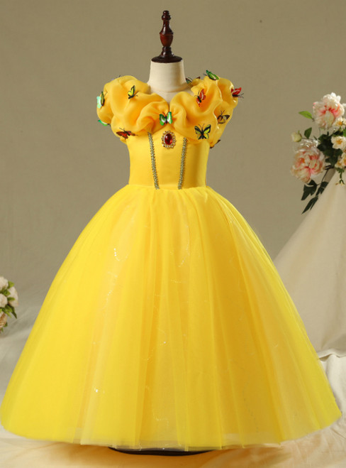 In Stock:Ship in 48 Hours Yellow Tulle Princess Belle Skirt Frozen