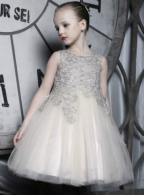 In Stock:Ship in 48 Hours Champagne Tulle Appliques Girl Dress