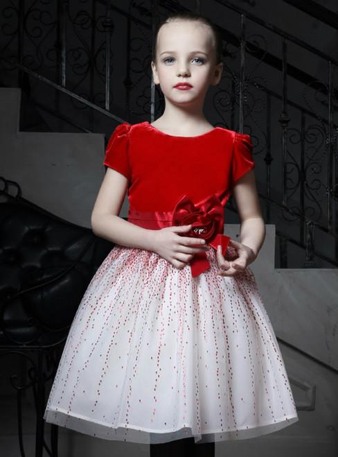 In Stock:Ship in 48 Hours Red Velvet White Tulle Sequins Flower Girl Dress