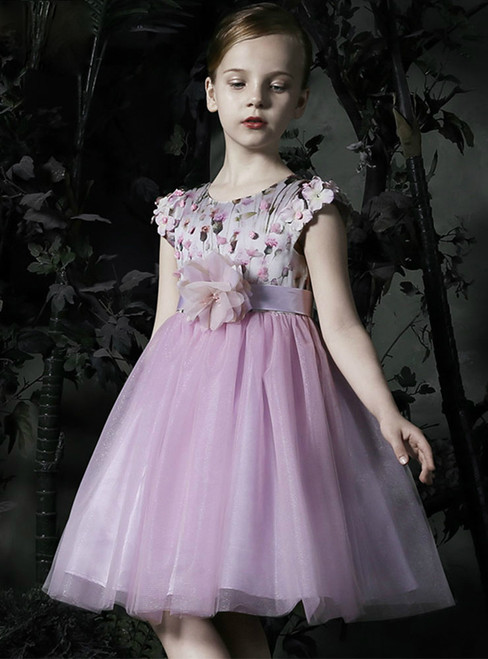 In Stock:Ship in 48 Hours Purple Tulle Print Cap Sleeve Girl Dress