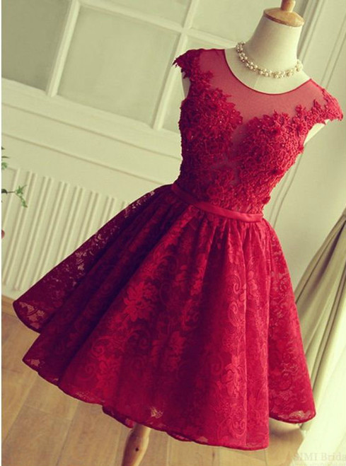 Elegant A-Line Prom Homecoming Dresses Jewel Short Back Lace Applique