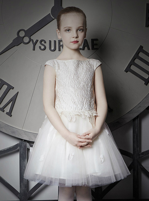 In Stock:Ship in 48 Hours Beige White Tulle Lace Flower Girl Dress