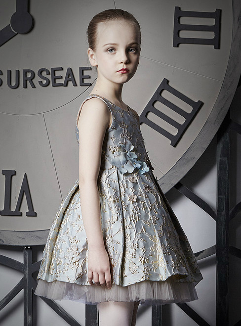 In Stock:Ship in 48 Hours Blue Embroidery Tulle Flower Girl Dress
