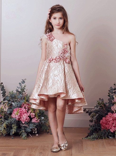 In Stock:Ship in 48 Hours Pink Gold Appliques Knee Length Girl Dress