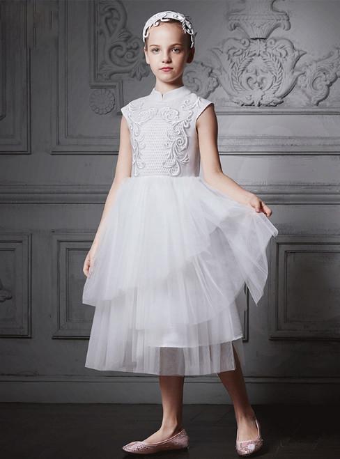 In Stock:Ship in 48 Hours White High Neck Tea Length Girl Dress