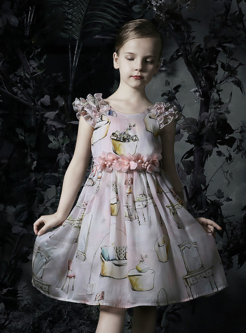 In Stock:Ship in 48 Hours Pink Print Appliques Flower Girl Dress