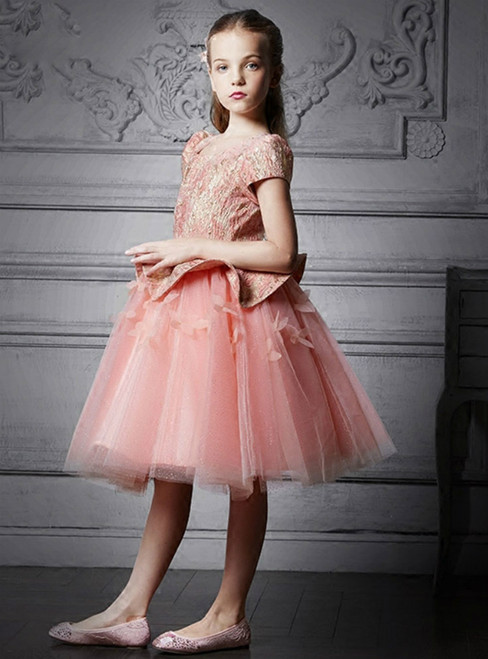 In Stock:Ship in 48 Hours Pink Tulle Cap Sleeve Flower Girl Dress